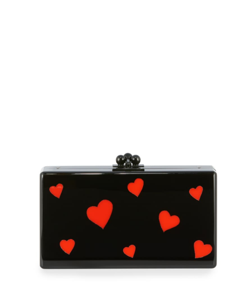 edie parker black red hearts jean clutch