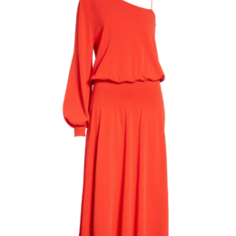 ALC Red Orange Poppy Shari One Shoulder Dress
