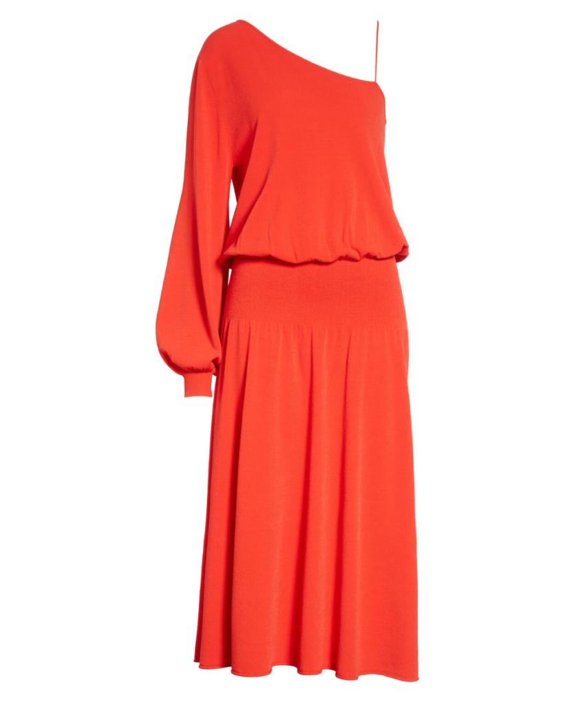 ALC Red Orange Poppy Shari One Shoulder Dress