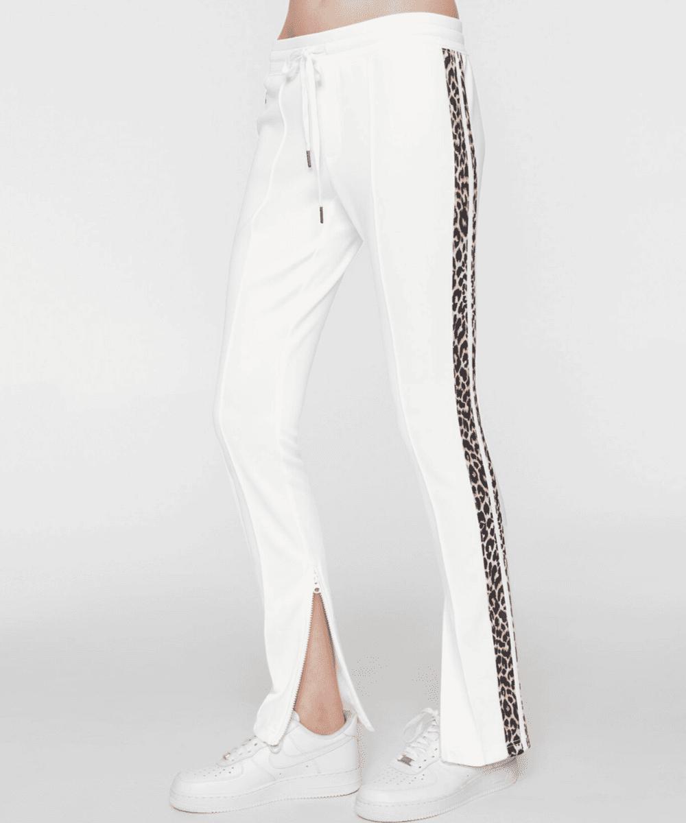 Pam & Gela Off White Leopard Stripe Cigarette Track Pant