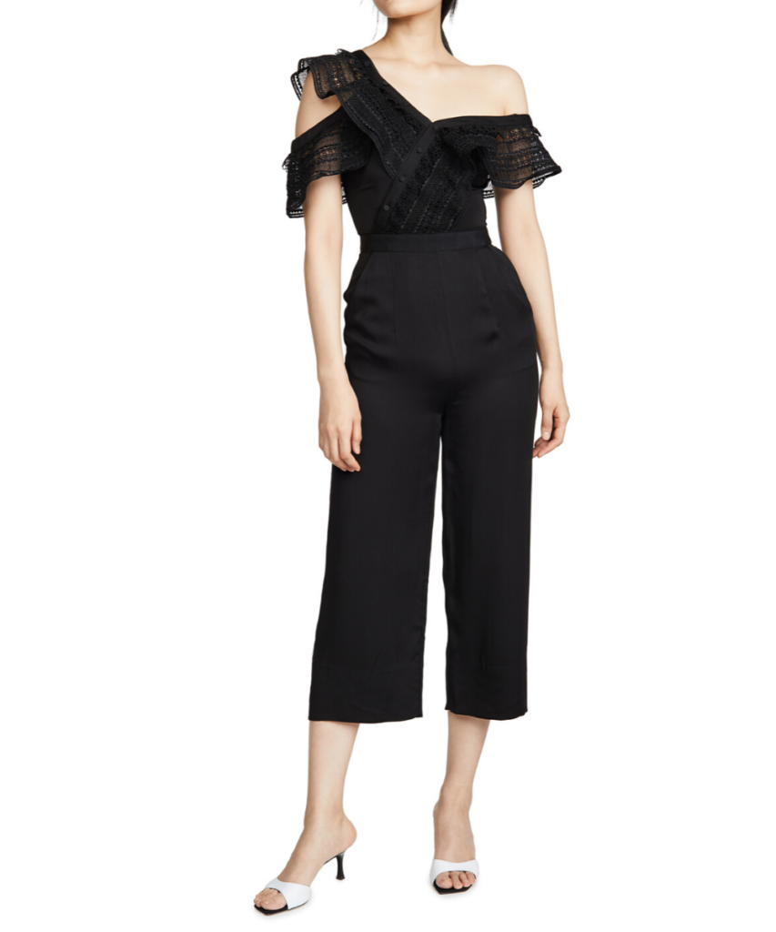 Self Portrait One Shoulder Frilled Jumpsuit Black
