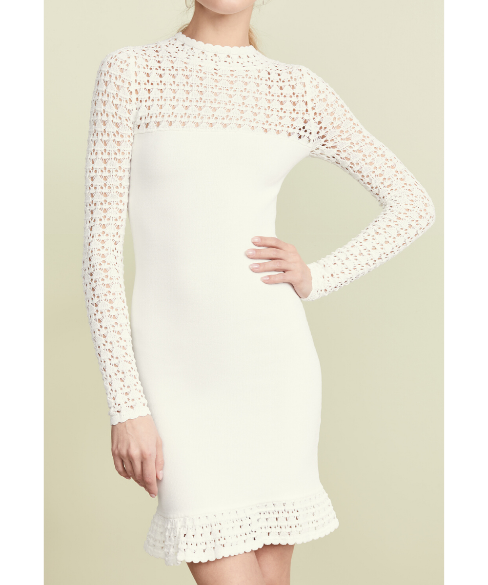 ronny kobo white crochet magda dress