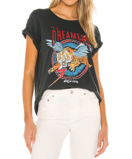 Daydreamer Dreamers Short Sleeve Tee TShirt Vintage Black Rocker Graphic