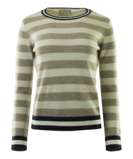 stripe sweater camel navy ivory