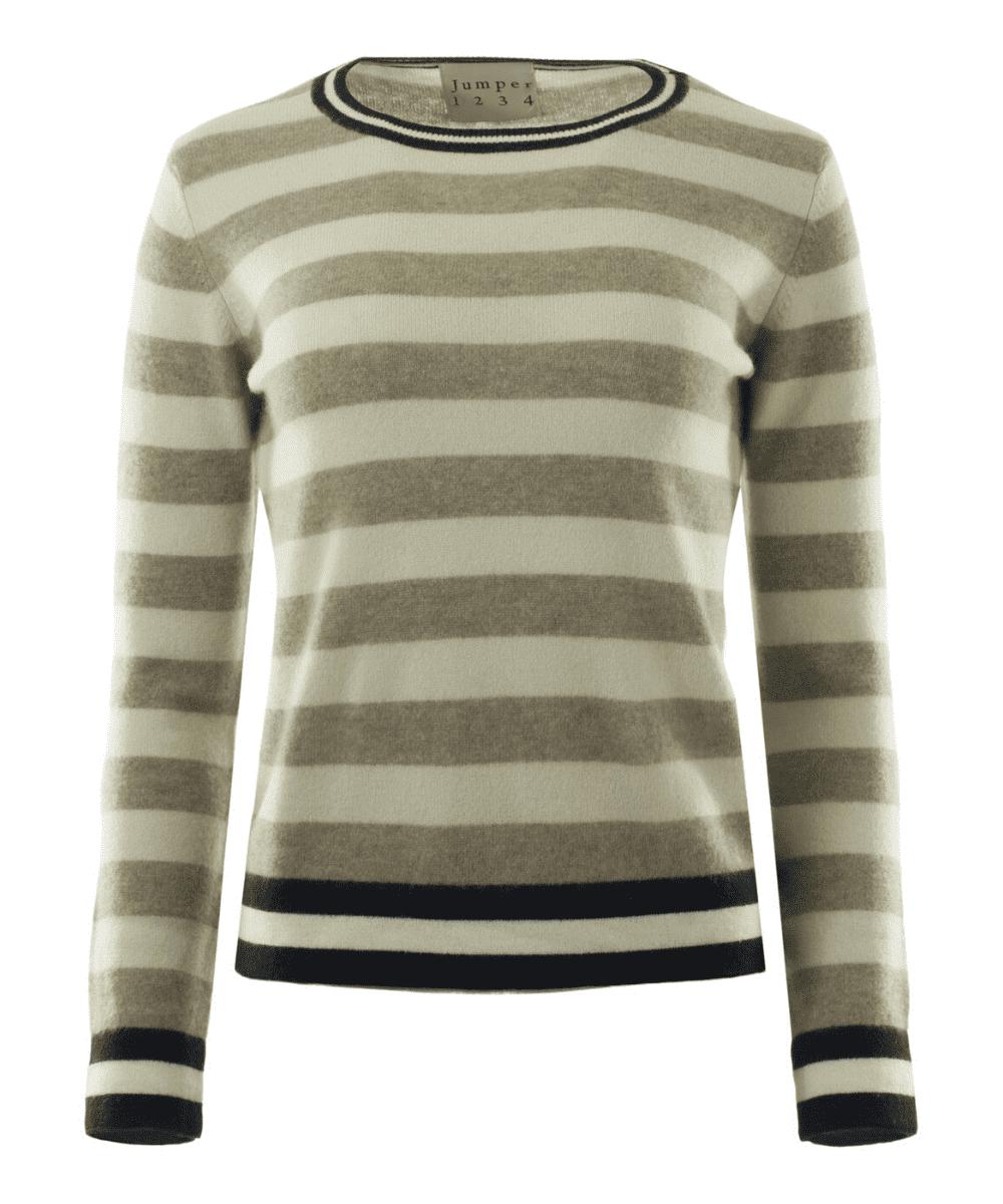 stripe sweater camel navy ivory