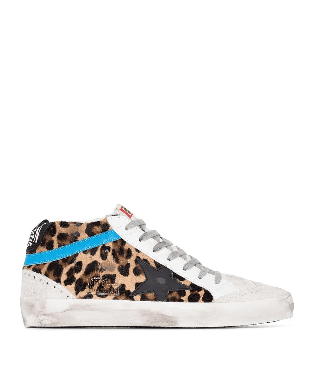 Golden Goose Leopard Blue Mid Star Sneakers