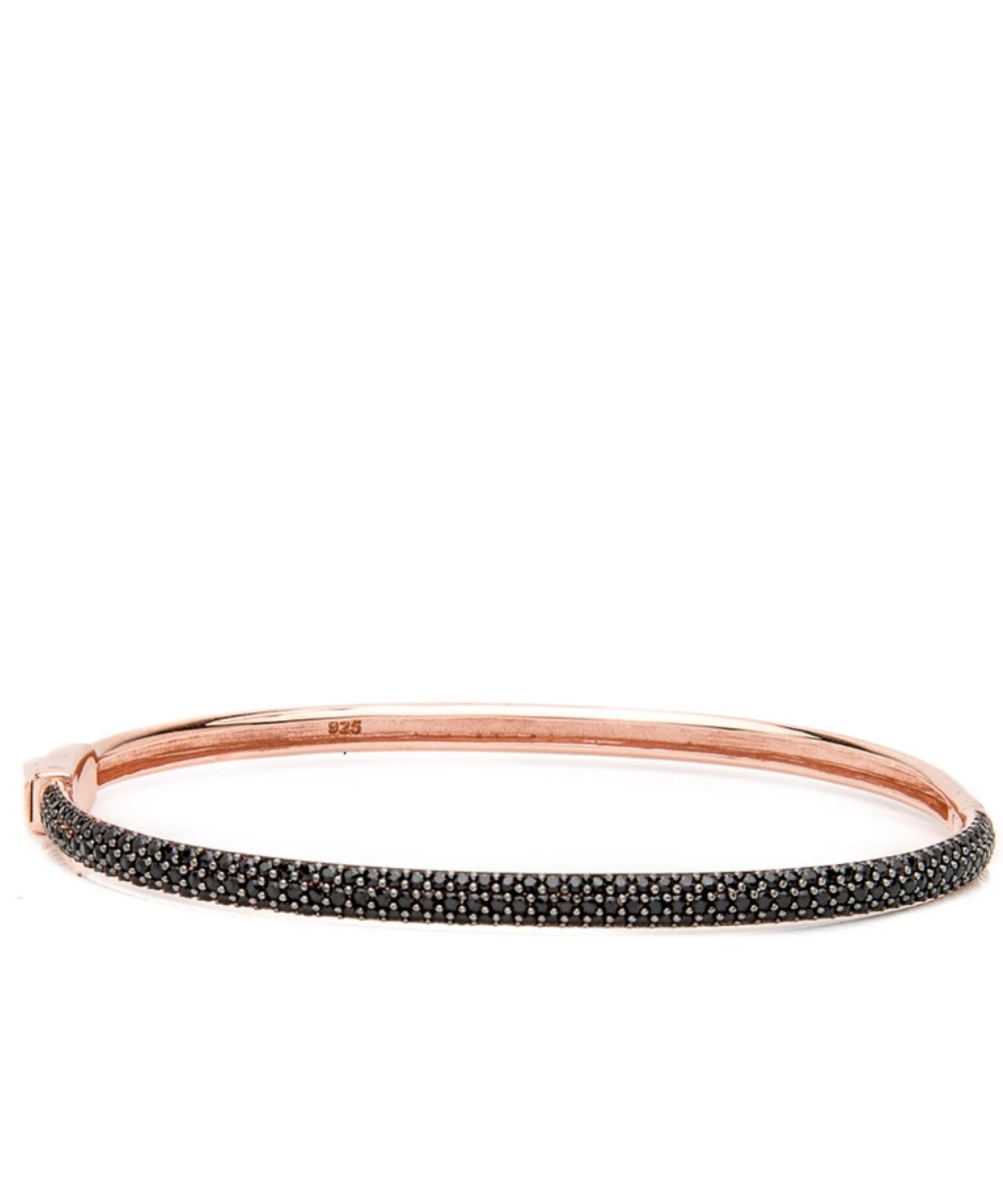malibu bangle bracelet rose gold black crystal