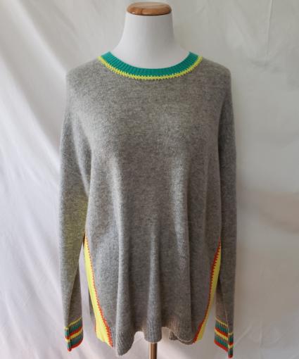 Colorblock Cashmere Sweater Grey Yellow Orange Green