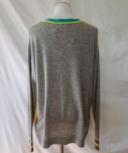 Colorblock Cashmere Sweater Grey Yellow Orange Green Back
