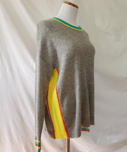 Colorblock Cashmere Sweater Grey Yellow Orange Green Side