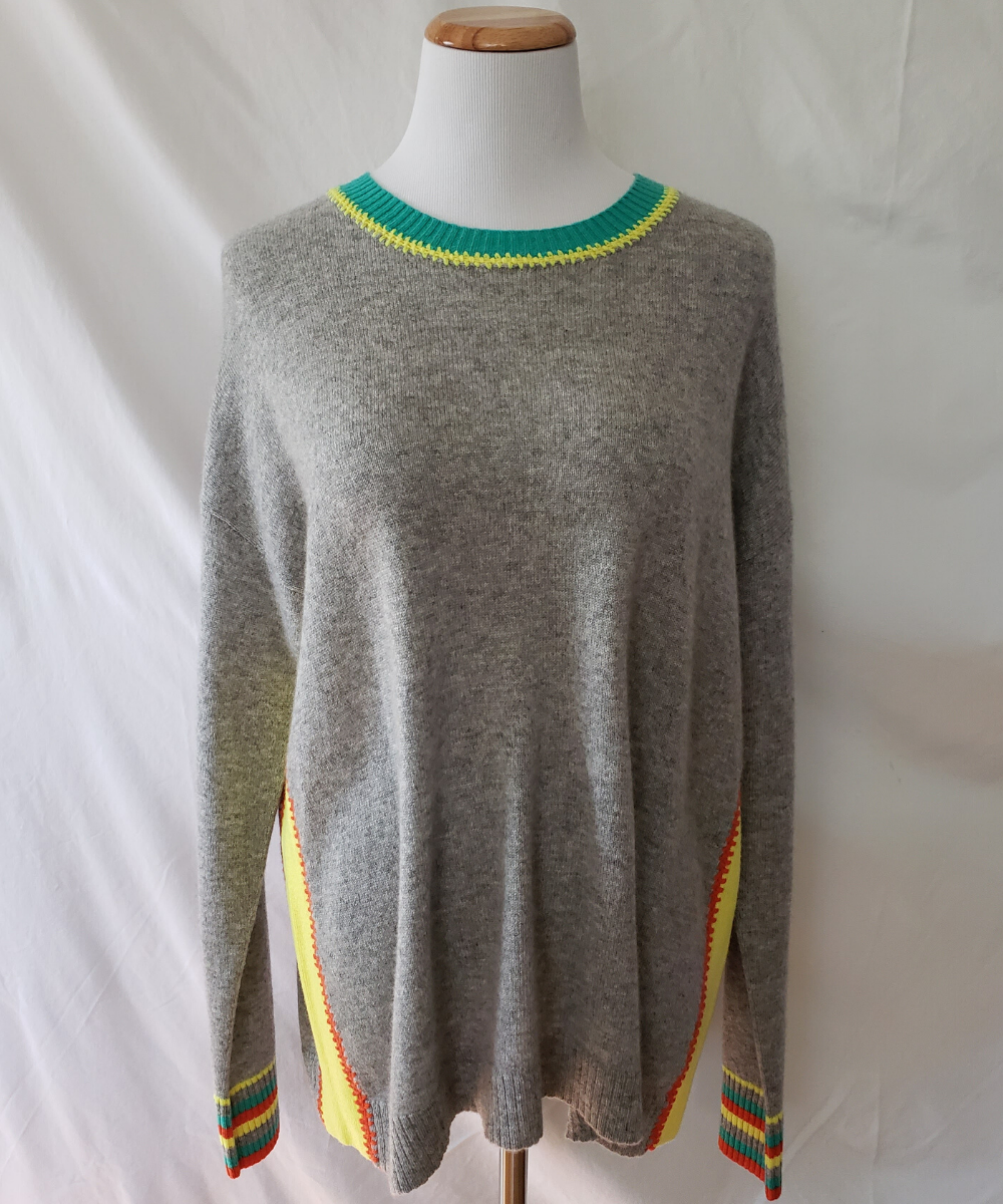 Colorblock Cashmere Sweater Grey Yellow Orange Green