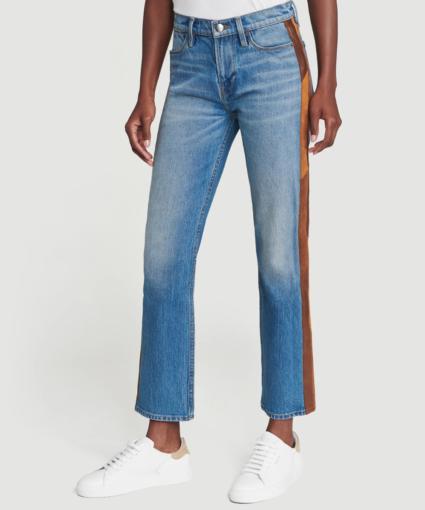 Frame Suede Panel Patchwork Desmond Le High Straight Side Panel Jeans Flat Model