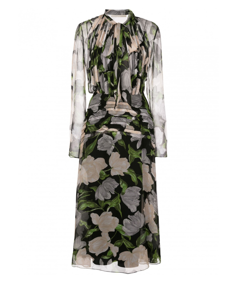 Jason Wu PRINTED SILK CRINKLE CHIFFON DAY DRESS