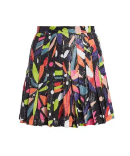 Poppy Sequin Graphic Floral Pleated Skirt Olivia Rubin