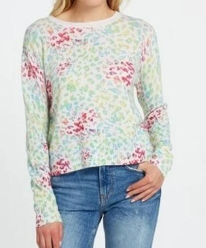Autumn Cashmere Multi Color Pastel Watercolor Leopard Cashmere Knit Sweater
