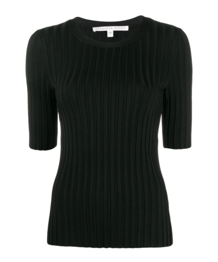 Veronica Beard Black Dillon Ribbed Pullover Sweater