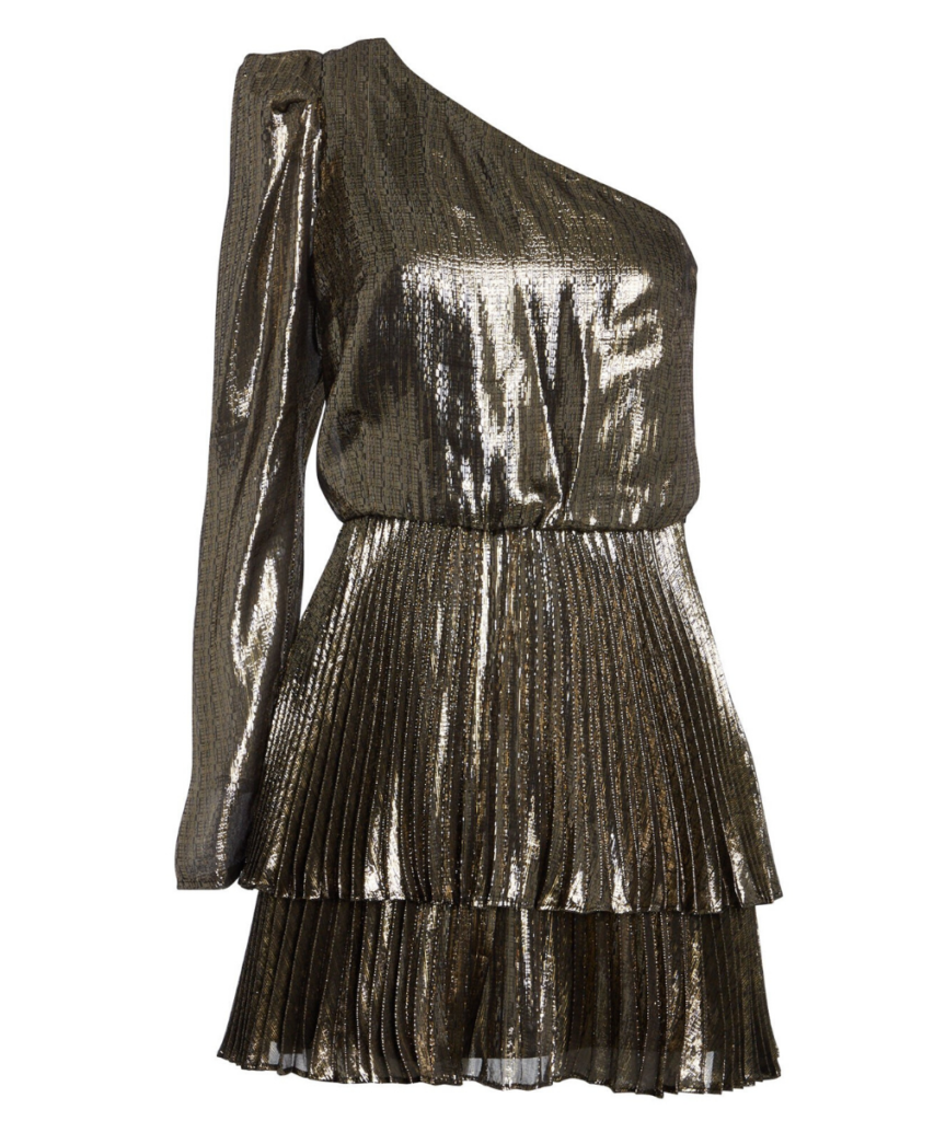 Yolie Metallic One Shoulder Pleated Skirt Dress Derek Lam 10 Crosby