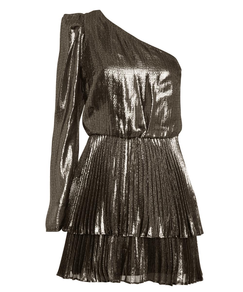 Yolie Metallic One Shoulder Pleated Skirt Dress Derek Lam 10 Crosby