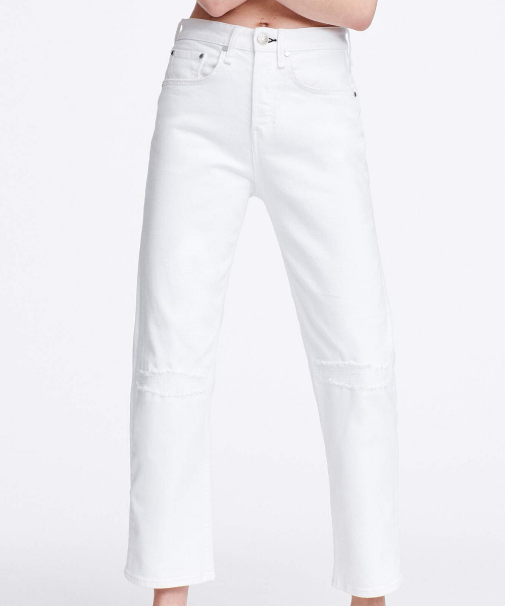 Maya High Rise Straight Jean White Distressed