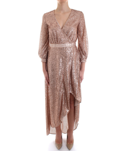 Sequin Wrap Dress - Rose Gold