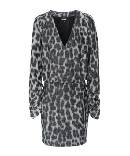 just cavalli metallic leopard long sleeve v dress