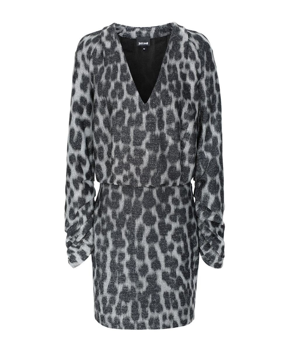 just cavalli metallic leopard long sleeve v dress