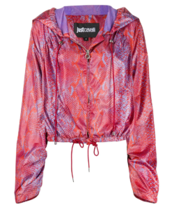 just cavalli red purple snake hooded jacket