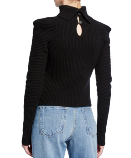 ALC Black Maura Cashmere Turtleneck Sweater Back
