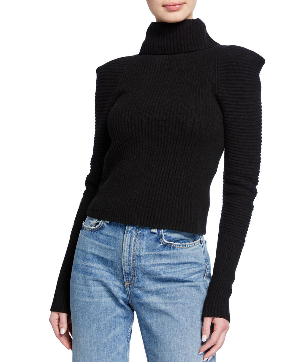 ALC Black Maura Cashmere Turtleneck Sweater
