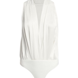 Michelle Mason Silk Charmeuse Sleeveless Halter Bodysuit
