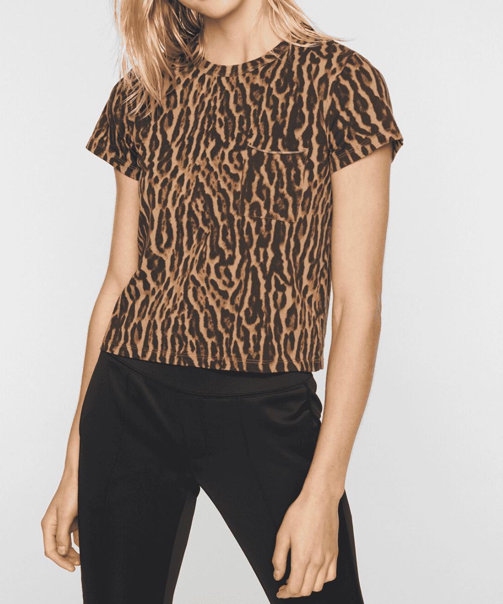 Pam & Gela Leopard Ocelot Animal Print Tee TShirt
