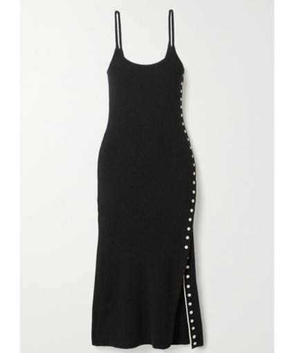 Proenza Schouler White Label Black Button Trim Knit Dress