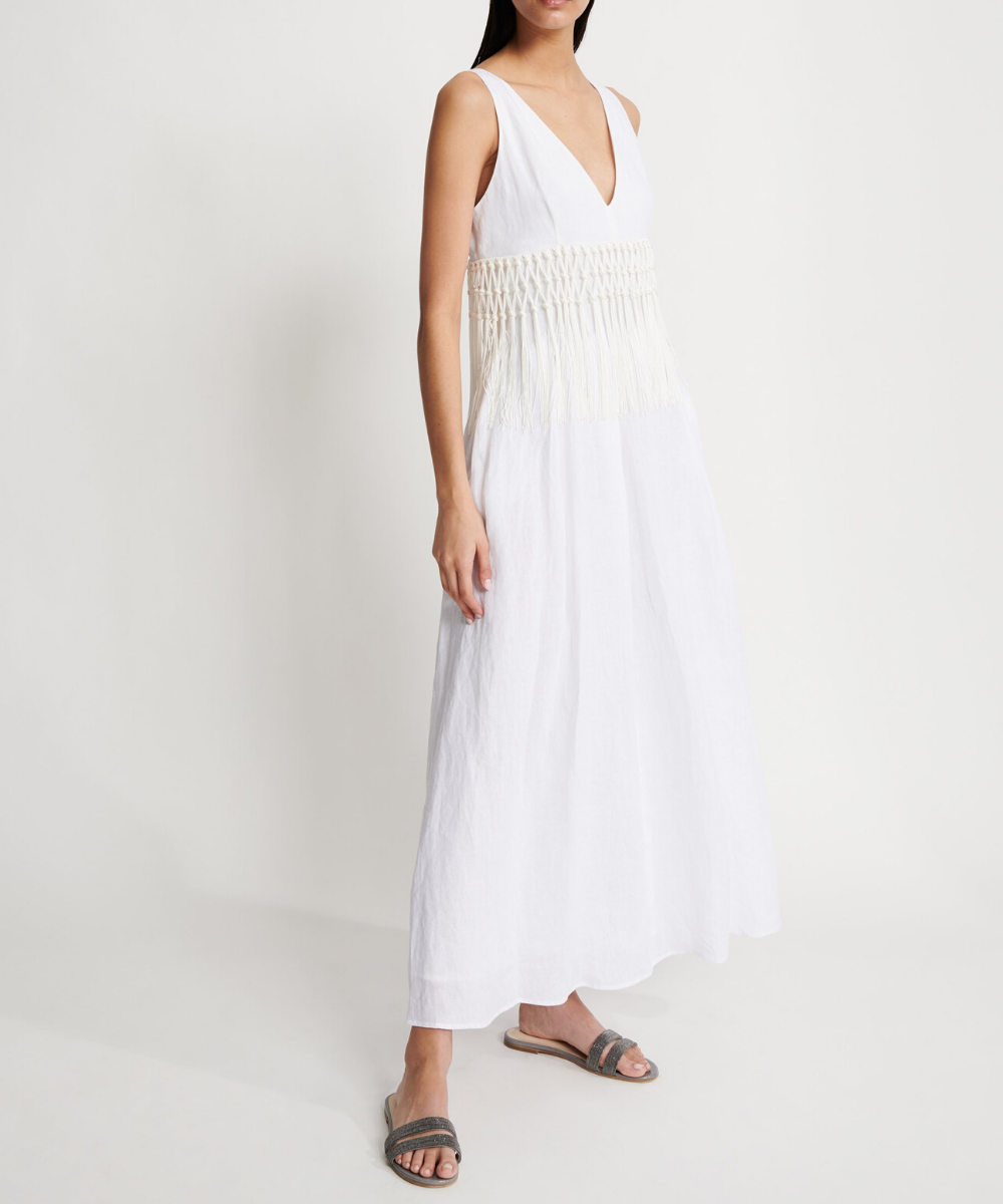 fabiana filippi linen maxi dress fringe