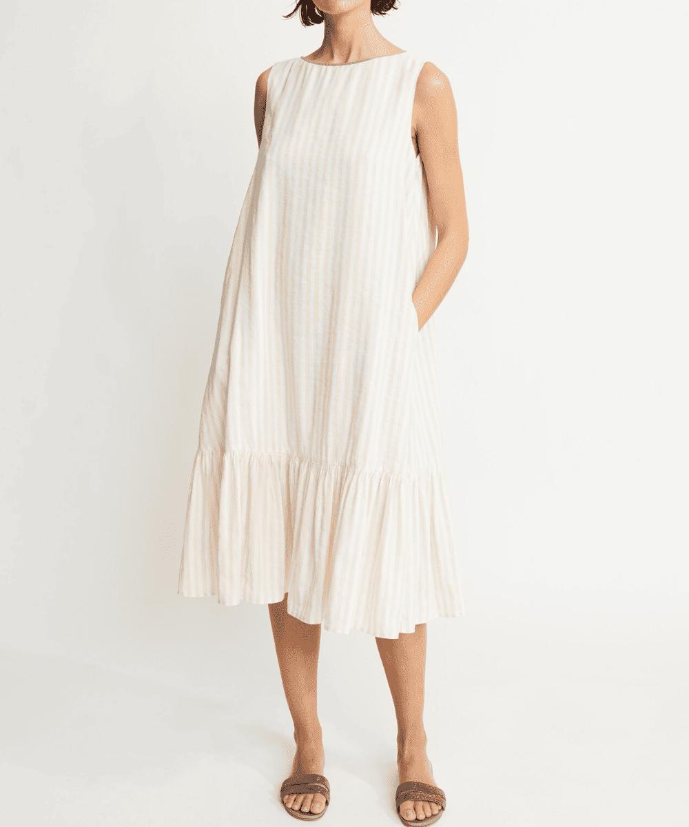 fabiana filippi linen vertical stripe dress