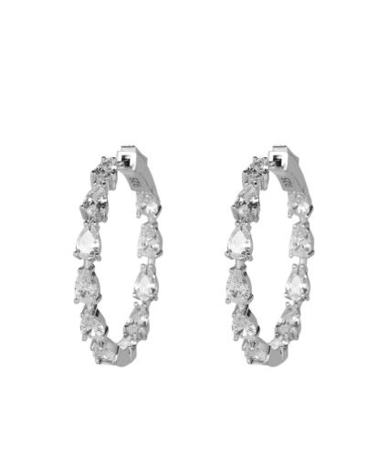 gil earring silver clear hoop