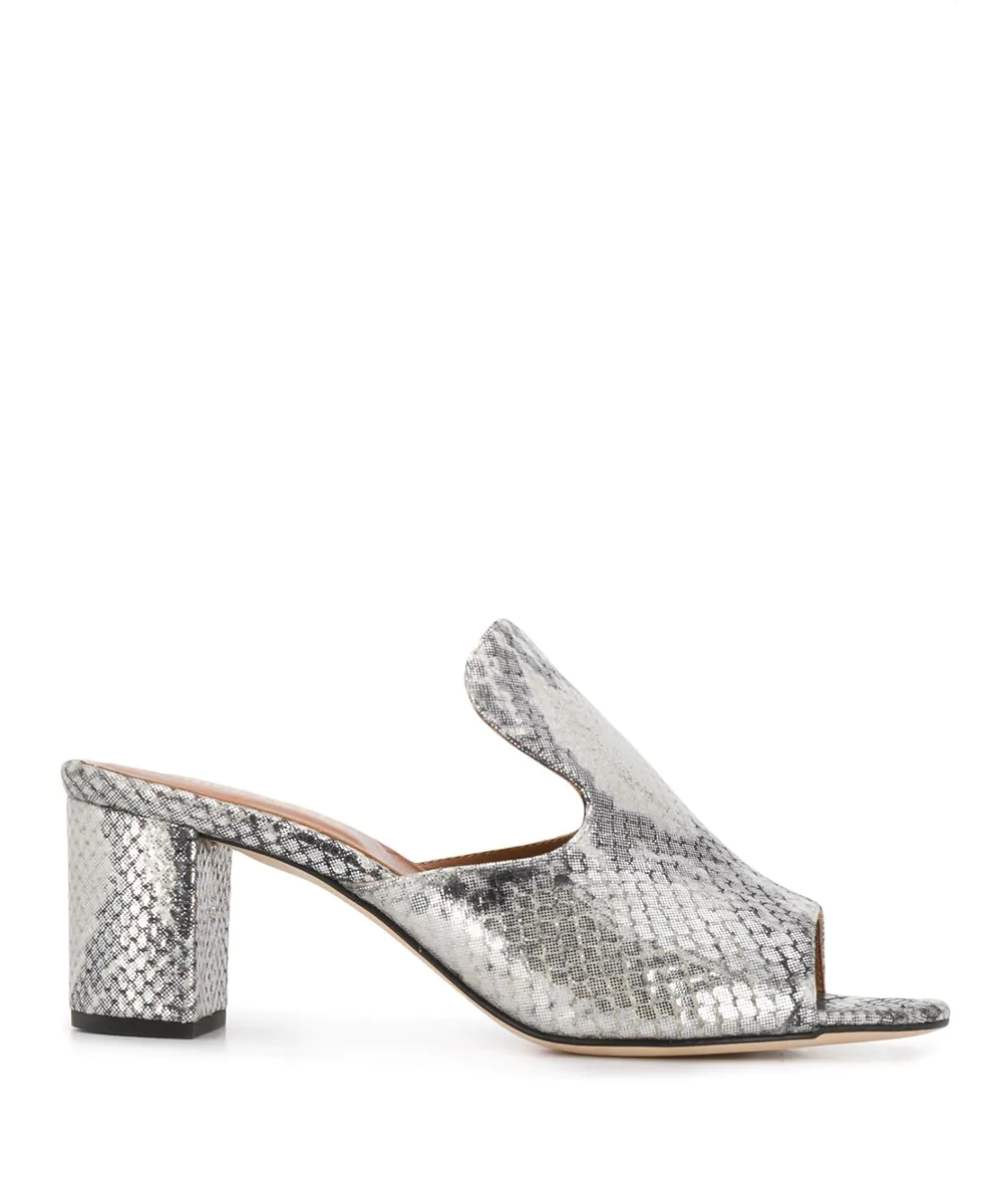 paris texas metallic snake print mule