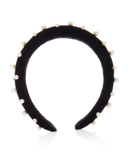Jennifer Behr Sascha Faux-Pearl Velvet Headband Black