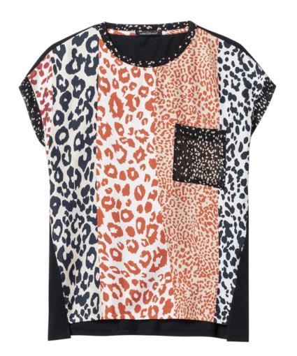 Luisa Cerano Silk Animal Print T-Shirt