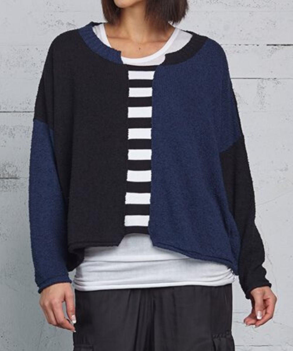 Planet Boucle Colorblock Sweater - Midnight Combo