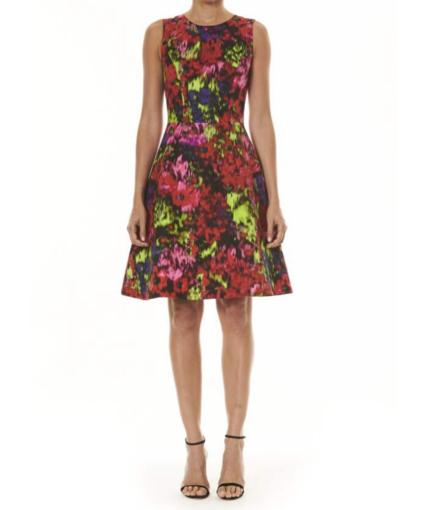 Carolina Herrera Floral A-Line Sleeveless Dress