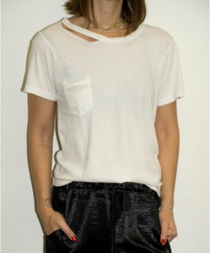 LNA Jet Stream Ivory Cut Out Pocket Tee Tshirt
