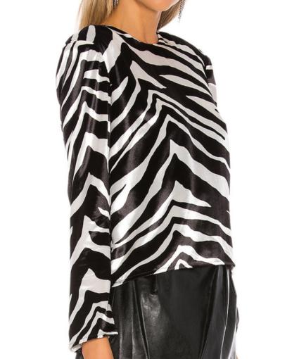 Michelle Mason Black White Zebra Velvet Top