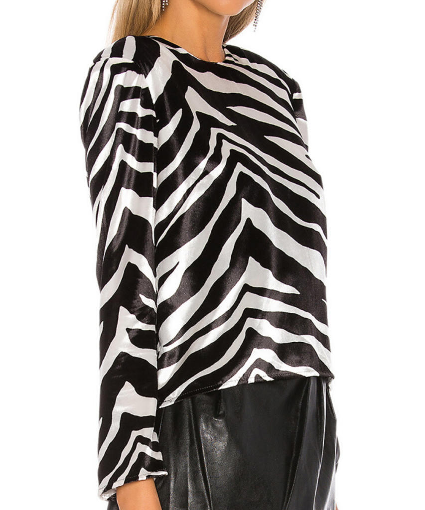 Michelle Mason Black White Zebra Velvet Top