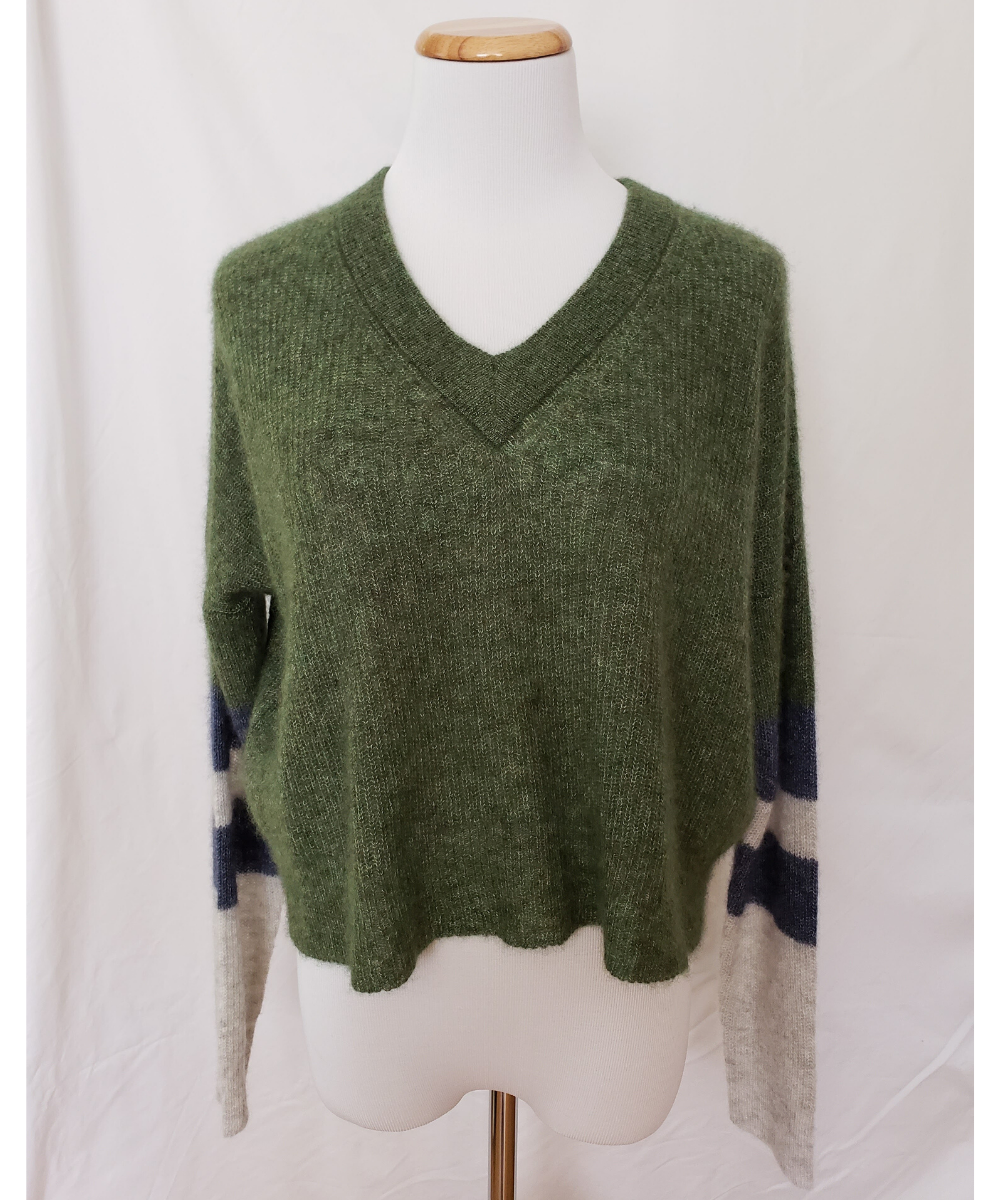 autumn cashmere varsity sweater green navy grey