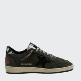 Ball Star Sneaker Olive Suede Leopard Back