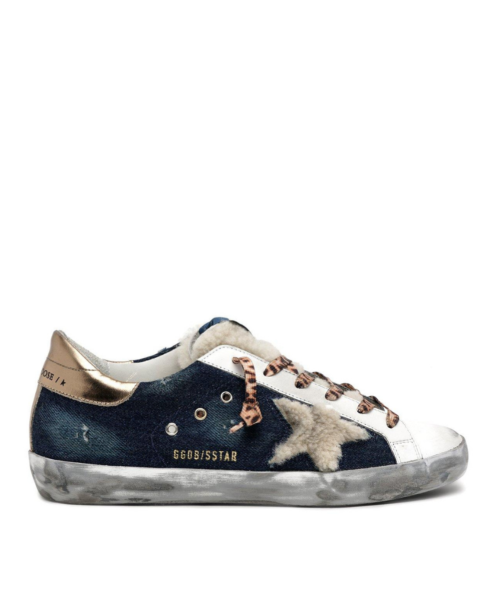 Golden Goose Superstar Sneaker Denim Shearling Leopard Gold