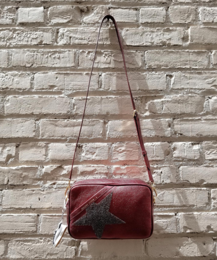 Logo Star Camera Bag Metallic Red Golden Goose