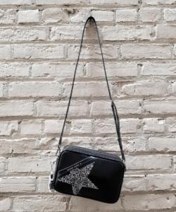 Logo Star Camera Bag Patent Black Crystal Golden Goose