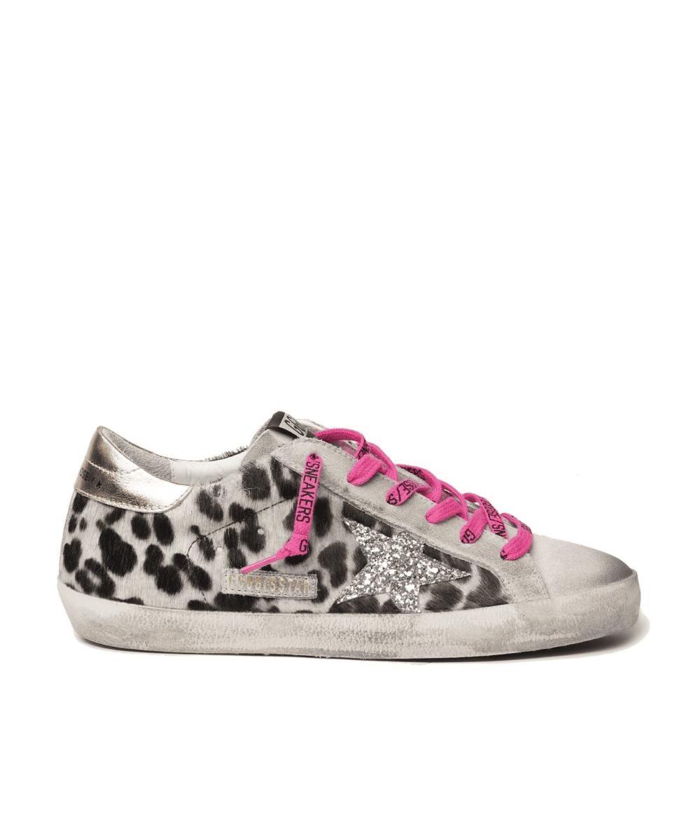 Superstar Leopard Black White Hot Pink Laces Gold Back Silver Glitter Star Golden Goose
