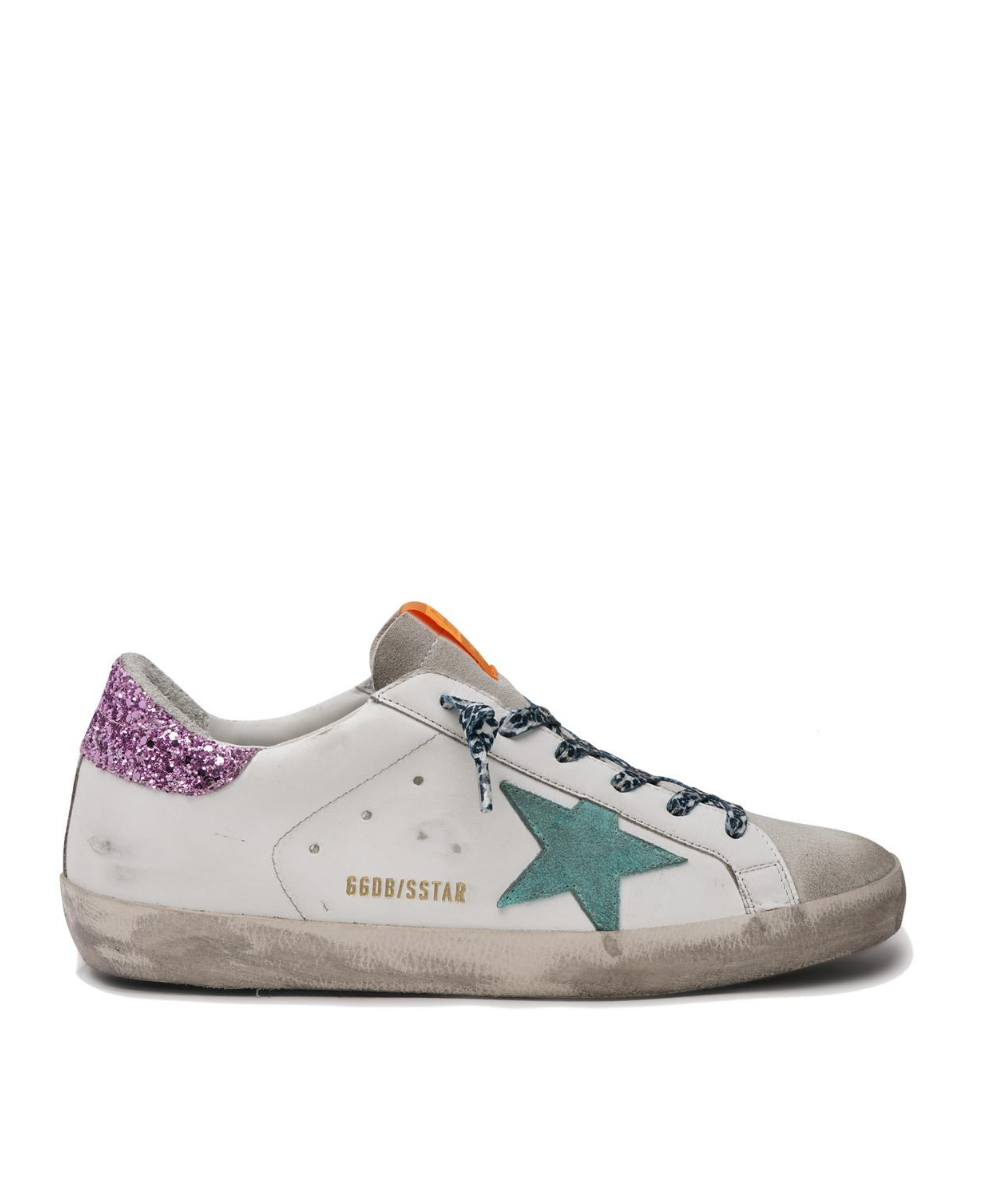 Superstar Sneaker White Pink Glitter Back Aqua Suede Star Golden Goose